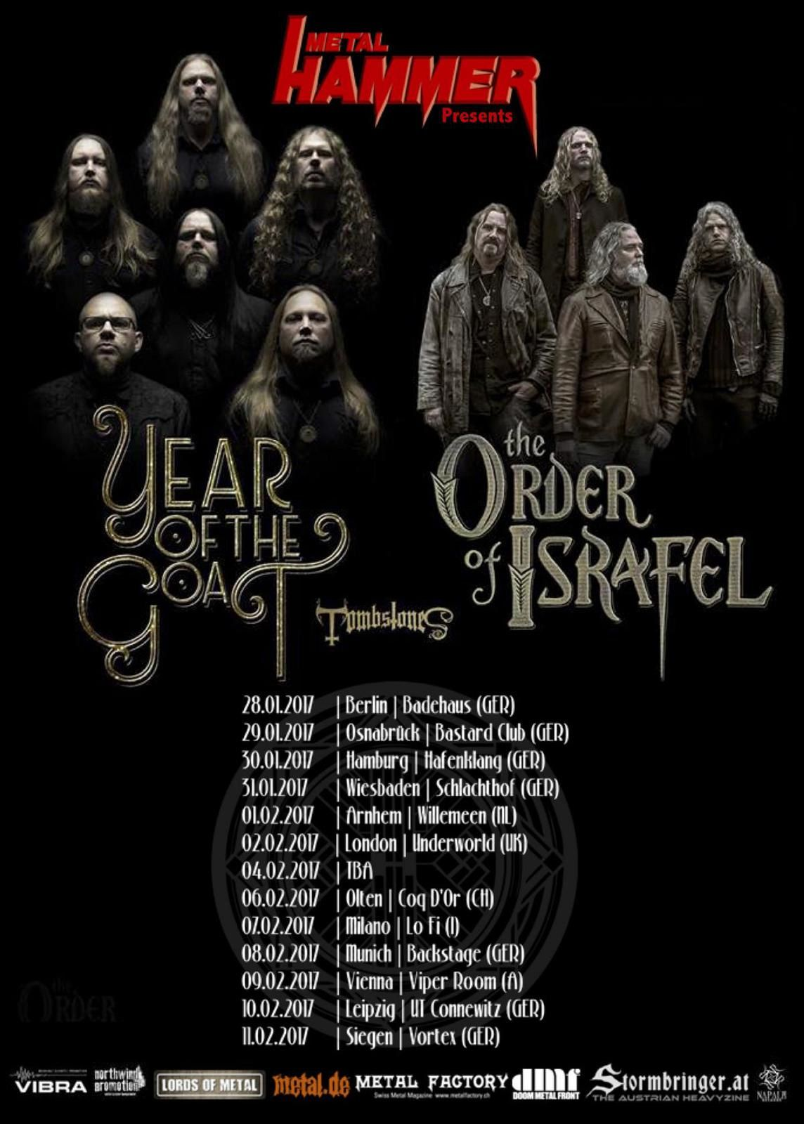 YEAR OF THE GOAT and THE ORDER OF ISRAFEL tour dates for Europe