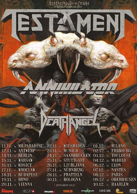 TESTAMENT announce European tour with ANNIHILATOR and DEATH ANGEL
