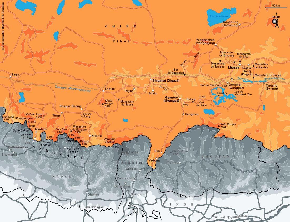 Carte du Tibet Central. Copyright : HACHETTE Tourisme. Site : routard.com