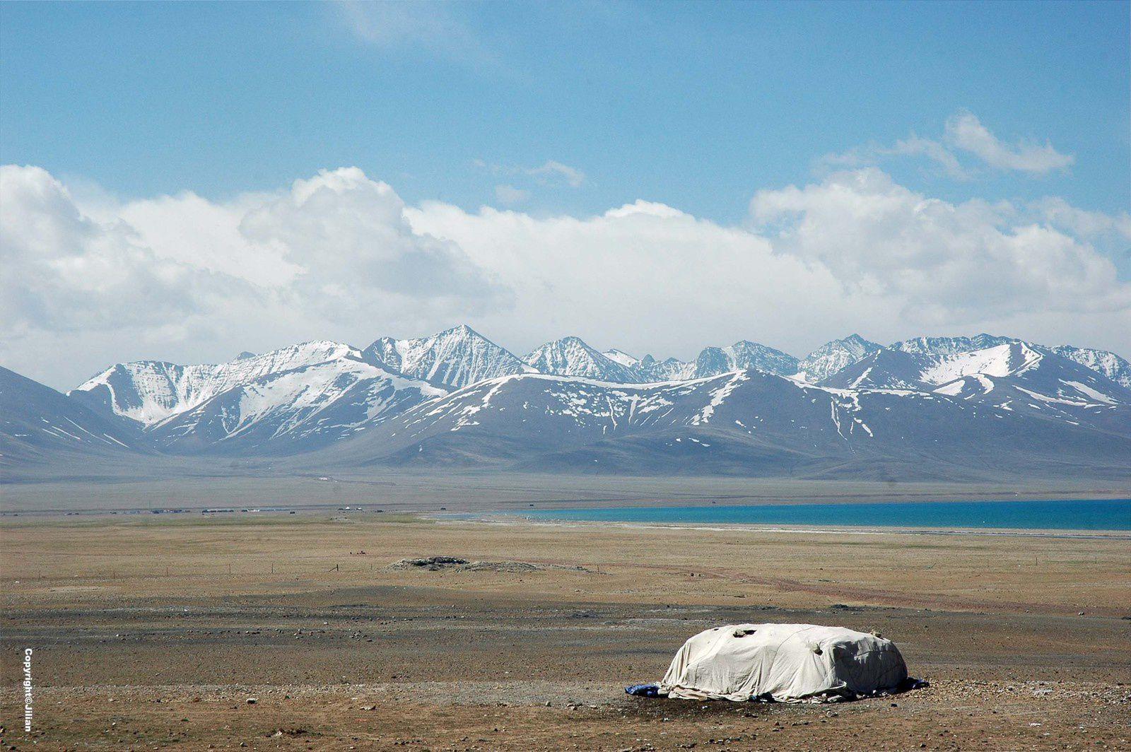 Bouses de yaks séchées, mises à l'abri sous une bâche