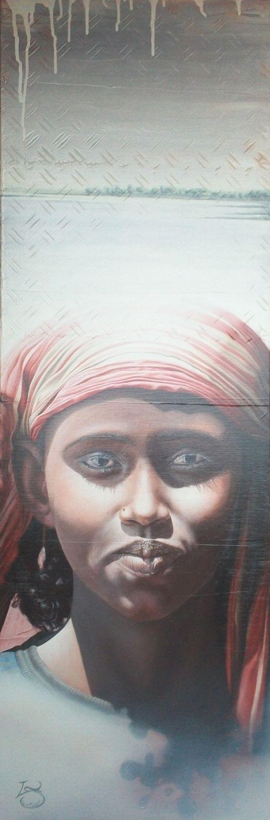 L'Ethiopienne (120 X 50 cm). Acrylique et huile.