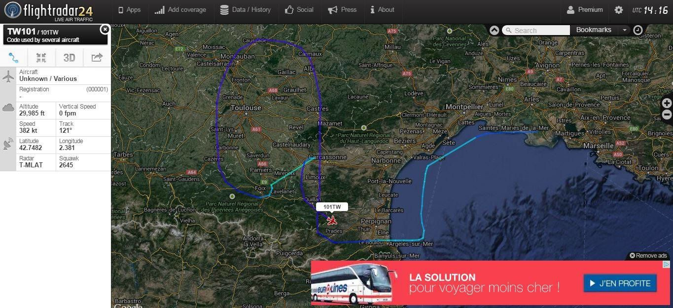Un Rafale sur le site Flight Radar 24