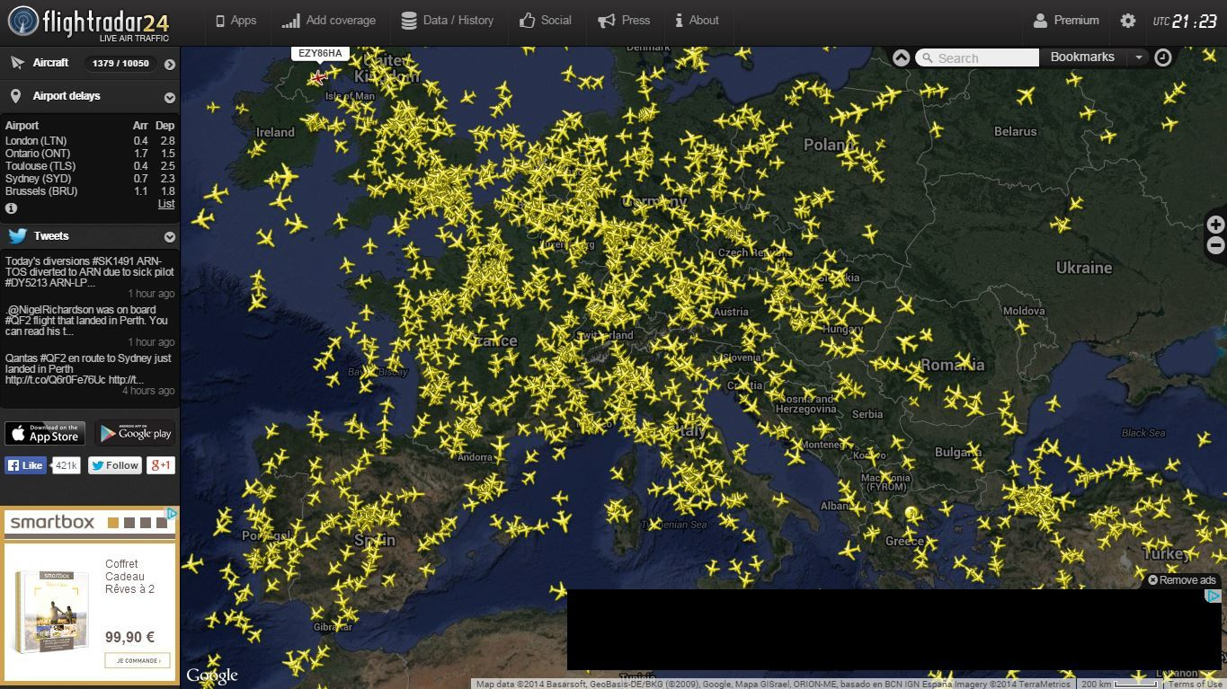 Photo : Capture d'écran du site flightradar24.com