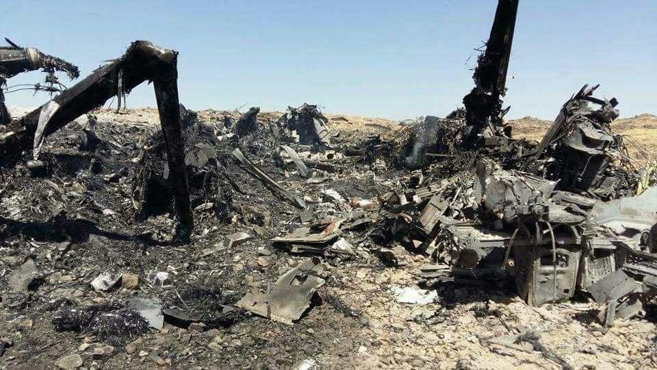 Les débris du V-22 Osprey, diffusés sur les réseaux sociaux, après avoir été détruits par une frappe aérienne.