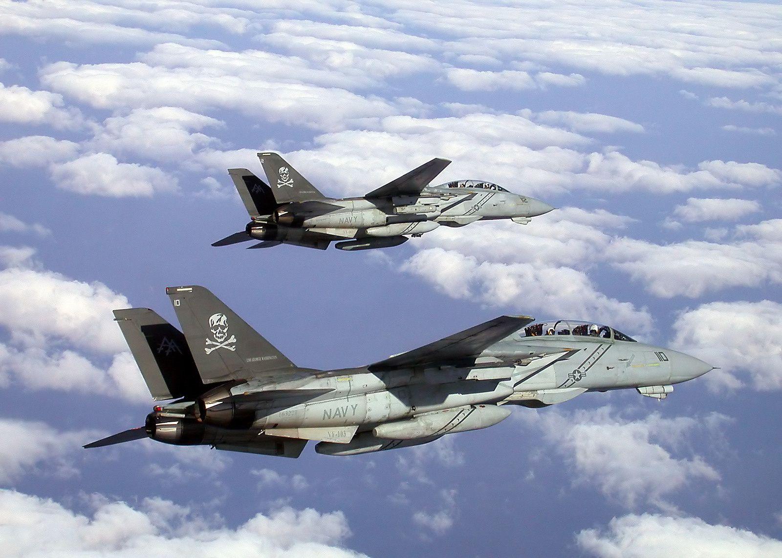 Deux F-14B de la VF-103 «Jolly Rogers» en vol au-dessus du golfe Arabique, en septembre 2002. Les pétales de réacteurs F110 sont particulièrement visibles.