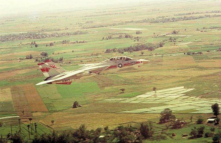 Un F-14A de la VF-1 «Wolf Pack» en vol au-dessus des rizières du Sud-Vietnam, en 1974.