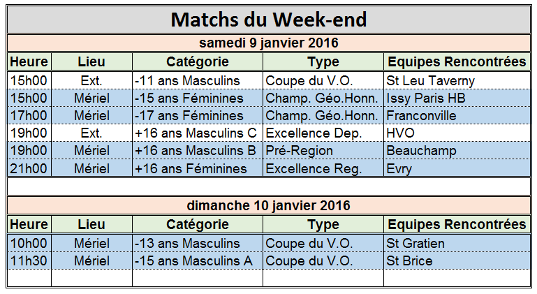 Week-end du 9 / 10 Janvier 2016