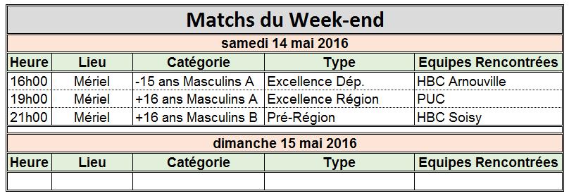 Week-end du 14 / 15 Mai 2016