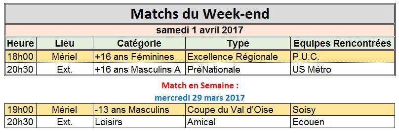 week-end du 1er et 2 Avril 2017