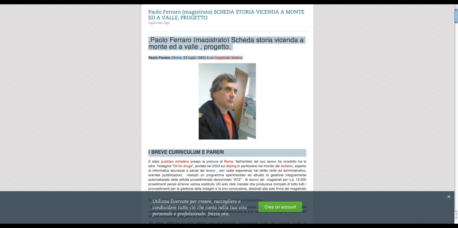 Paolo Ferraro (magistrato) VOCE Scheda storia vicenda a monte ed a valle, progetto. La grandediscovery