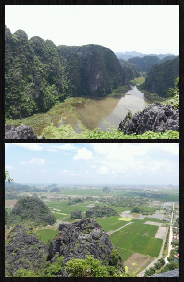 """un terrain tout plat et des énormes roches sorties de nul part. Ninh Binh est nommé """"la Baie d'Halong terrestre""""."""