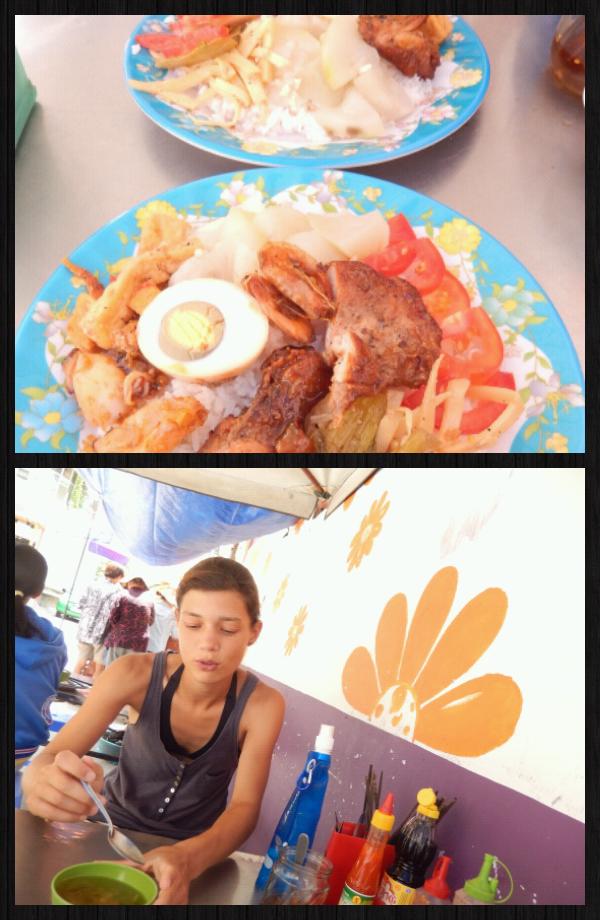 on finit par se trouver un bouiboui. Dans l'assiette: du poulet, du porc, du tofu,  un oeuf, du riz et des légumes! (toujours pour moins d'1€!) Oui rien que ça!