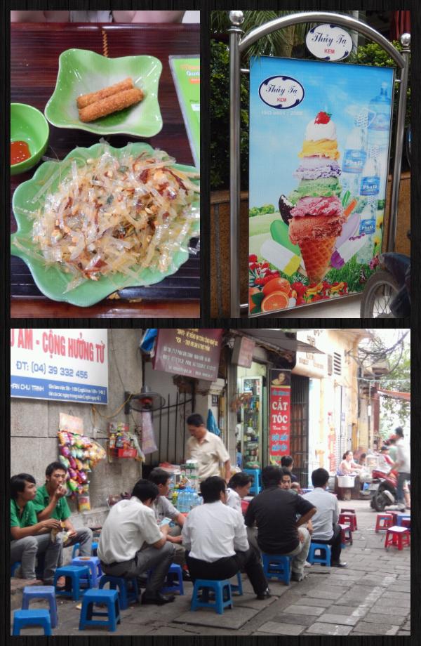 """on mange super bien au Vietnam , mais parfois on tombe sur un truc """"hors-norme"""" comme le plat en haut à gauche: une espece de papier genre papier pour rouleau de printemps sauf que là c'est du """"plastique"""" mais ça se mange! (et c'est pas bon^^)."""