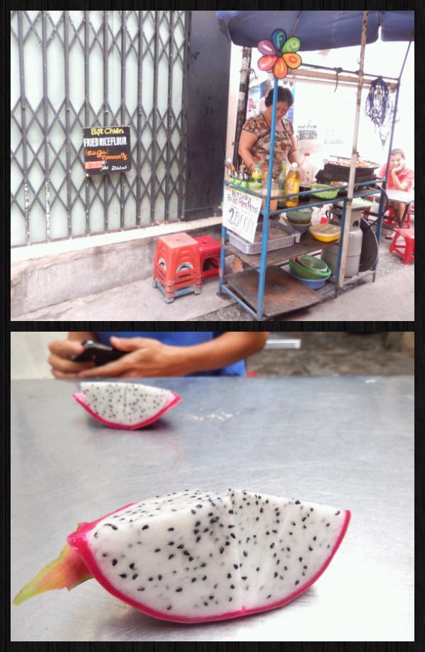 on a mangé des flancs de riz chez une dame plus qu'adorable. Elle nous avait interpellées dans la rue pour qu'on goûte ce qu'elle vendait. Démarche commerciale réussie puisque nous sommes retournées manger chez elle 3fois. Elle nous offrait en plus, un Dragon fruit, petit fruit local trop bon et un thé.