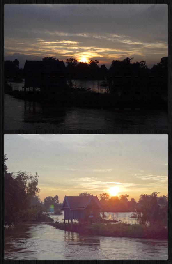 coucher de soleil sur le pont reliant Don Khon à Don Det. Admirer le merveilleux spectacle de la nature...