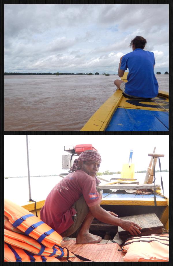 """une pirogue, un """"capitaine"""", le Mekong et nous 2. Nous voguons pendant une 20aine de minutes avec le moteur. On émet des doutes quant à la probabilité de voir des dauphins avec un moteur aussi bruyant..."""