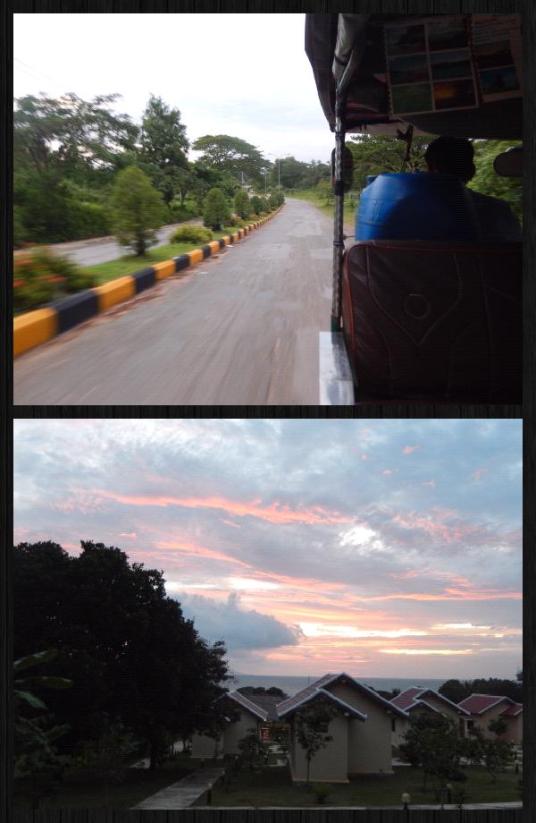un tuktuk nous amène à notre guesthouse à 2kms de la station de bus