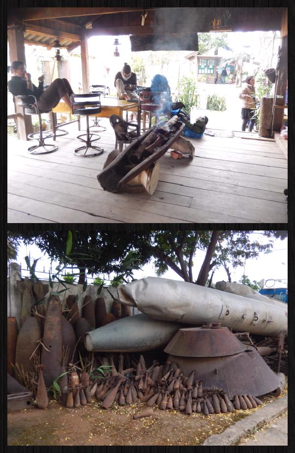 en haut: la piece commune de la GH. une bombe faisant office de cheminée.