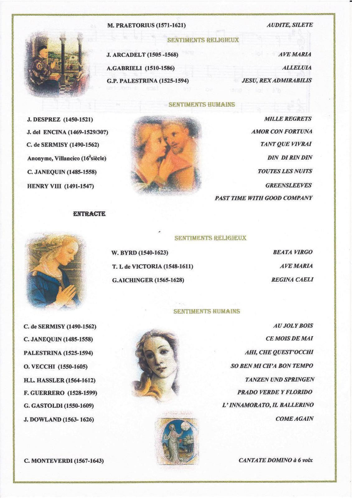 Programme du Concert de polyphonies de la Renaissance