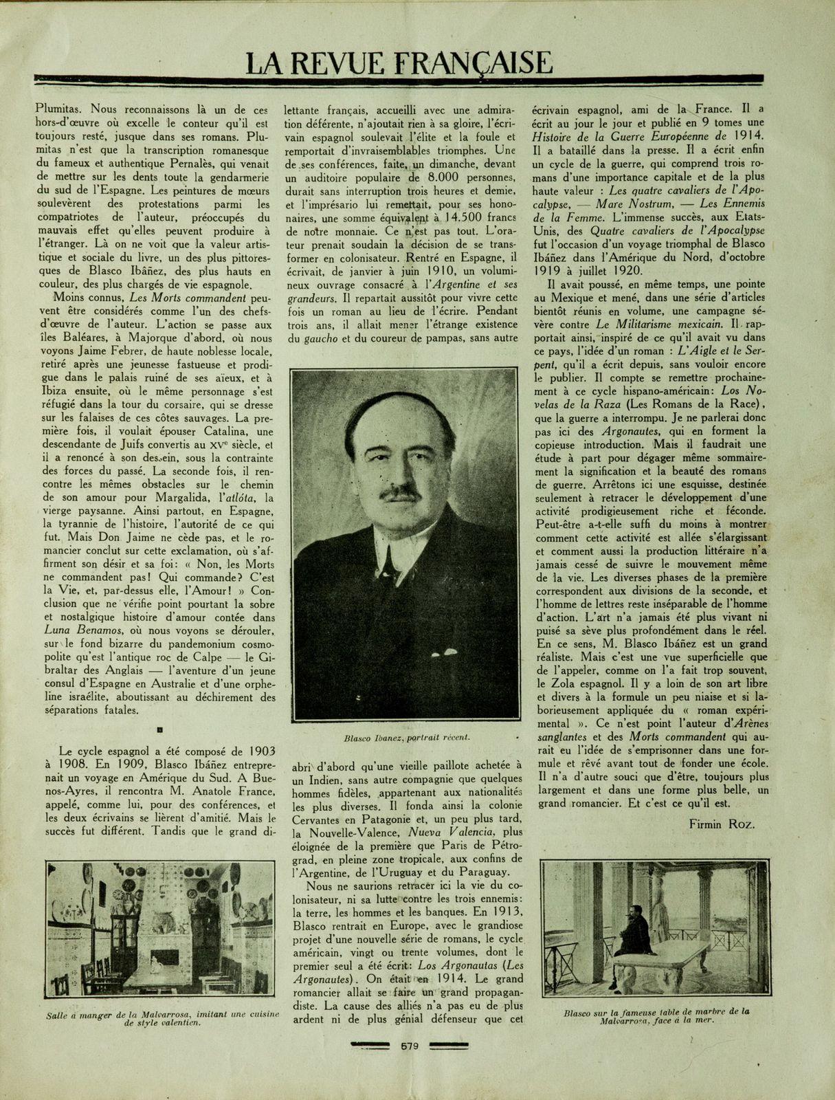 Vicente Blasco Ibañez : La Revue Française du 18 septembre 1921 (Source : Archives Alain Bertin)