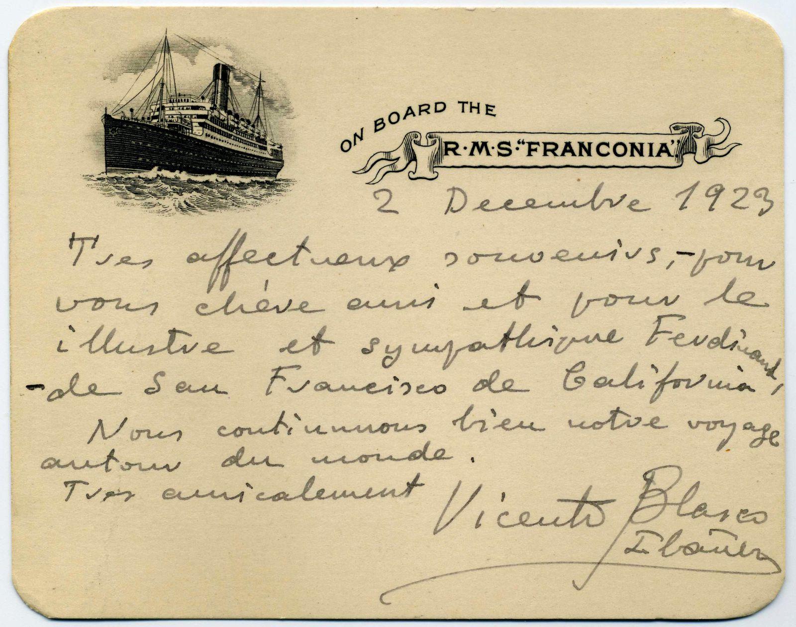Vicente Blasco Ibañez et le paquebot Franconia