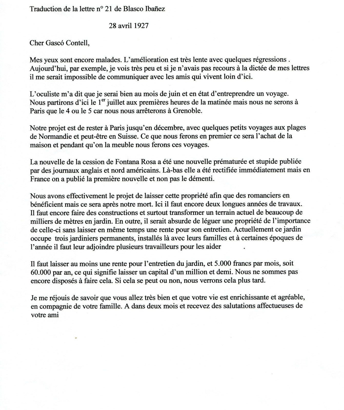 Lettres de Vicente Blasco Ibañez de mars et avril 1927 à Fontana Rosa à Menton