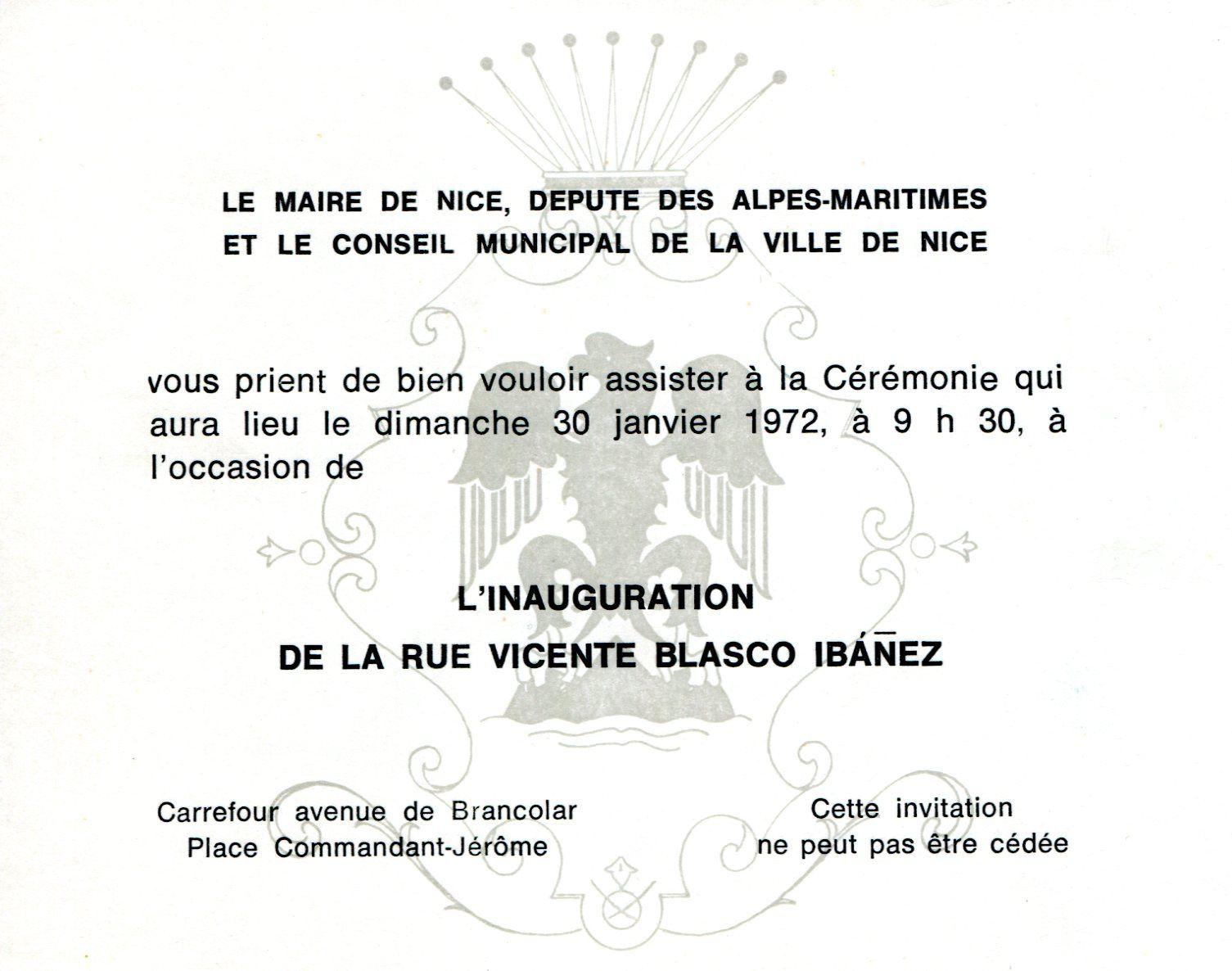 Inauguration de la rue Vicente Blasco Ibañez à Nice Cimiez le dimanche 30 janvier 1972