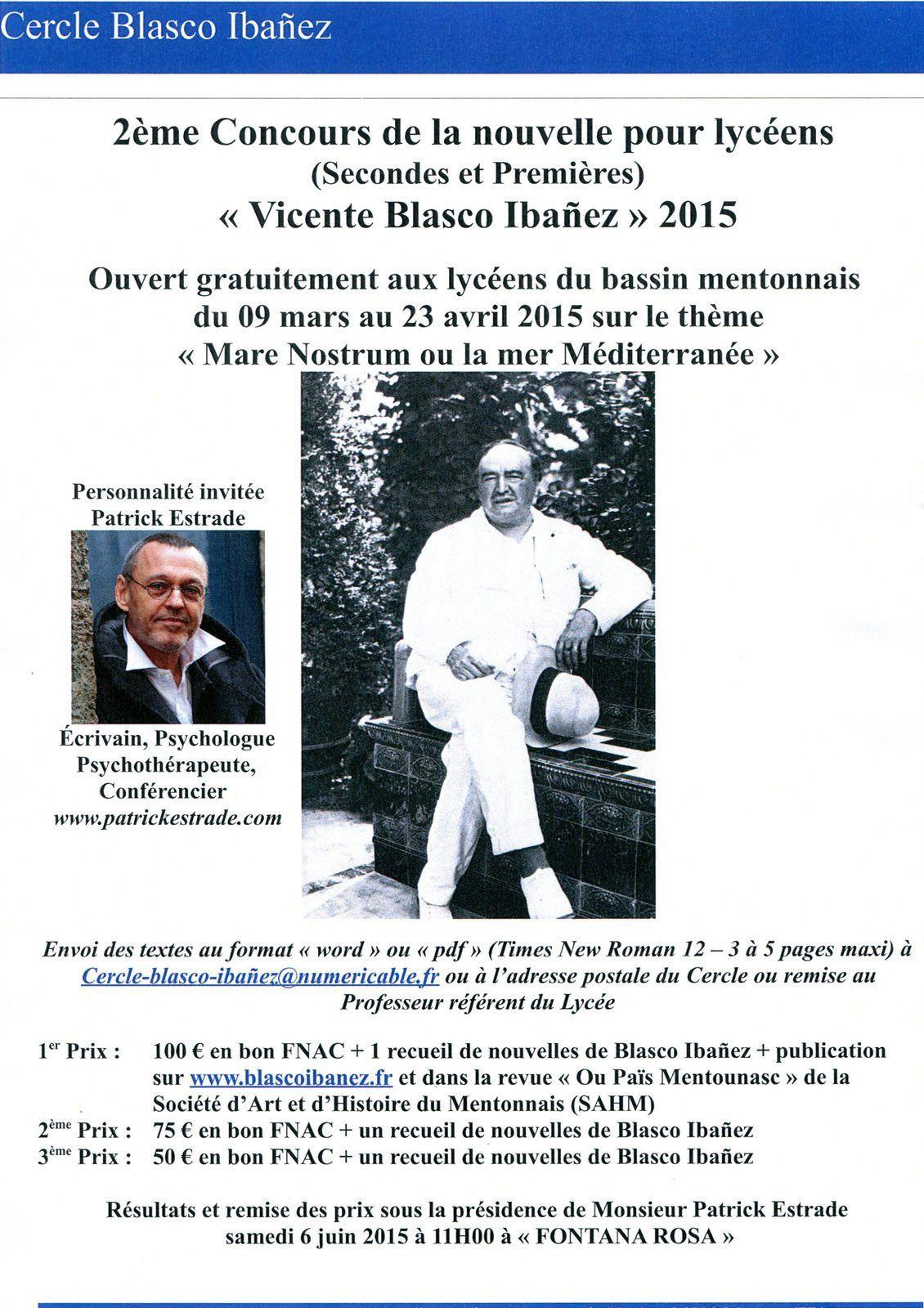 """Affiche du concours de la nouvelle pour lycéens 2015 """"Vicente Blasco Ibañez"""""""