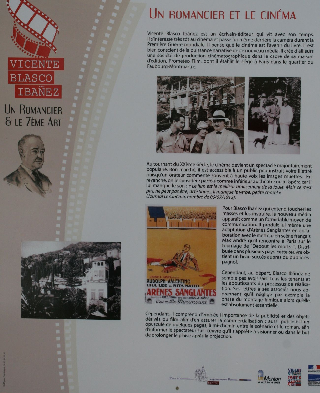 Vicente Blasco Ibañez et le cinéma à Fontana Rosa