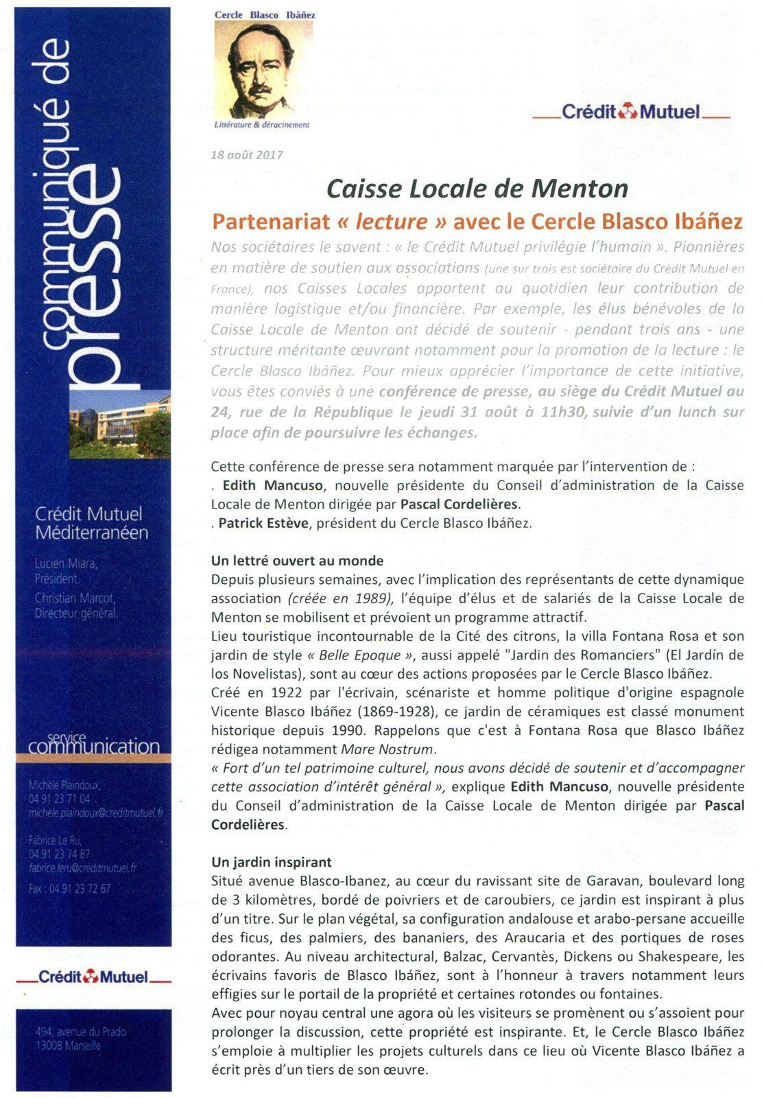 Le Crédit Mutuel aide le Cercle Blasco Ibañez