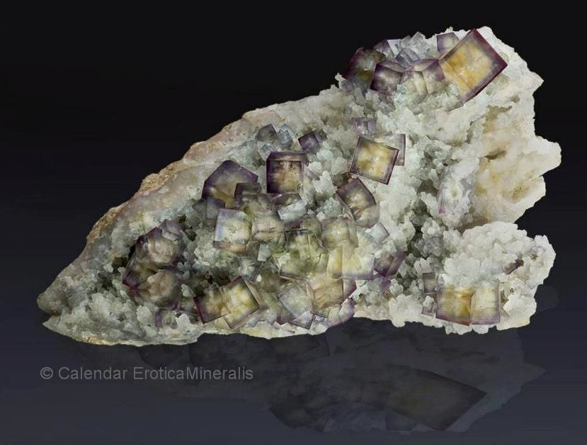 "Fluorite from Uranus mine, Erzgebirge, Saxiona, Germany (specimen and photo by ""Kalender EroticaMineralis"")"