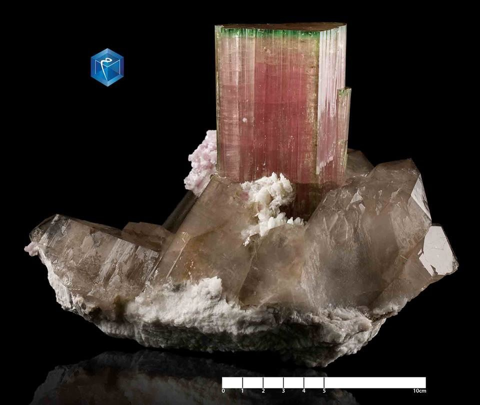 "Tourmaline ""Watermelon"" on Quartz from Afghanistan (specimen from Mim Museum)"
