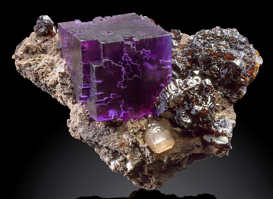 Fluorite on Sphalerite from Elmwood mine, Tennessee, USA (specimen and photo by The Mineral Gallery, Inc)