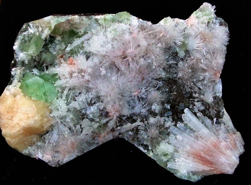 Scolecite and Green Apophyllite from Nasik, India (private collection)