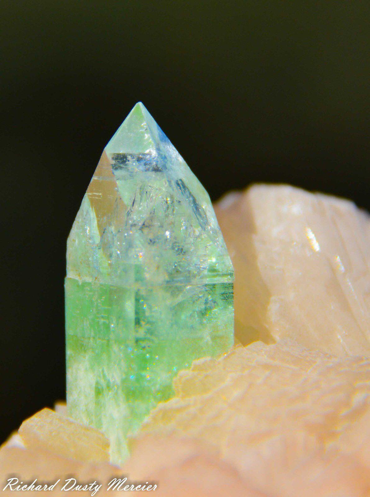 Green Pointed Apophyllite on Stilbite from Lonavala Mine, Poonah, Maharashtra, India (size: Cabinet)
