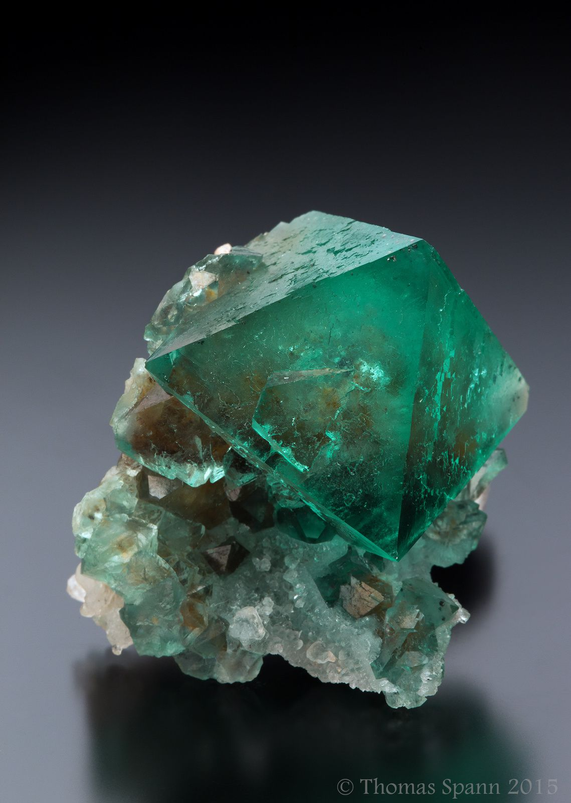 Fluorite with Quartz from Riemvasmaak, Kakamas Dist. Northern Cape Prov., South Africa (specimen and photo by Thomas Spann)