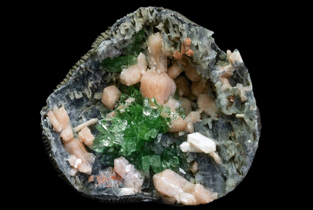 Green Apophyllite Flower with Stilbite on Chalcedony geode from India (specimen and photo by Astro Gallery Of Gems)