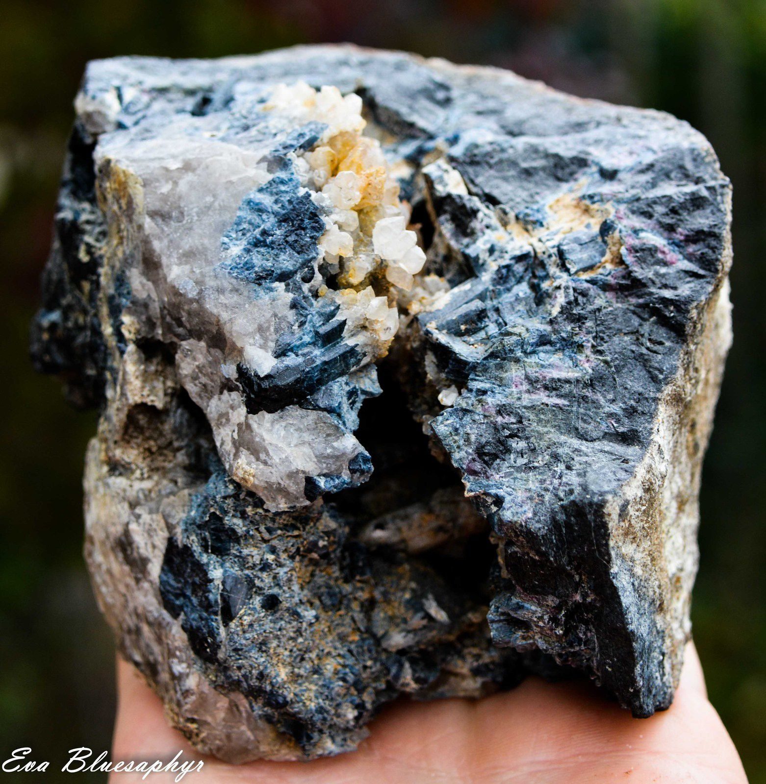 "Blue Tourmaline ""Indigolite"" with Calcite from Madagascar (size: Cabinet)"