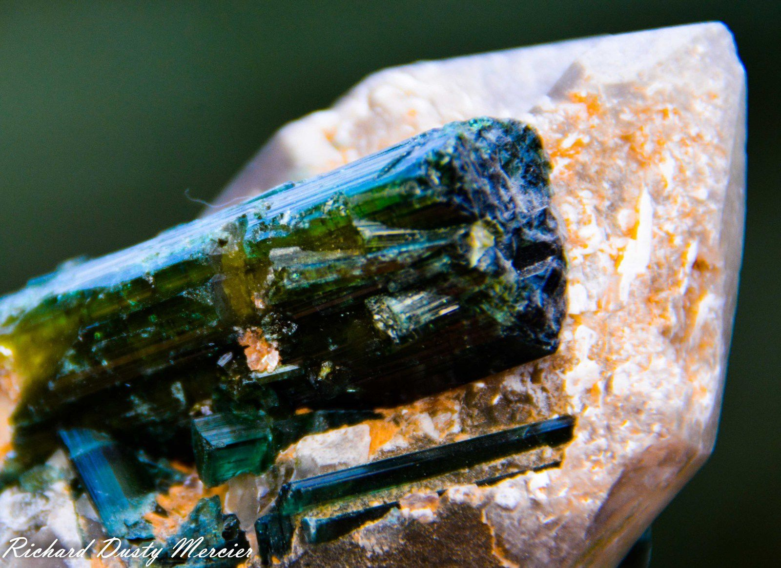 "Elbaite Green Tourmaline ""Verdelite"" on Quartz from Sahatany Valley, Madagascar (size: Cabinet)"