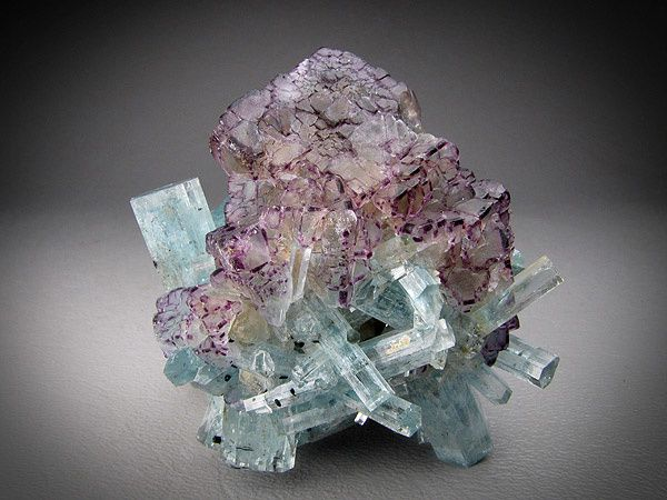 "Fluorite with Aquamarine from Namibia (Specimen and photo by ""Mine Rat Company"")"