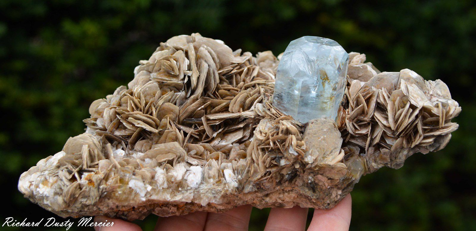 gemmy blue Aquamarine with Muscovite from Fiker Mine, Nagar Valley, Gilgit District, Gilgit-Baltistan, Northern Areas of Pakistan