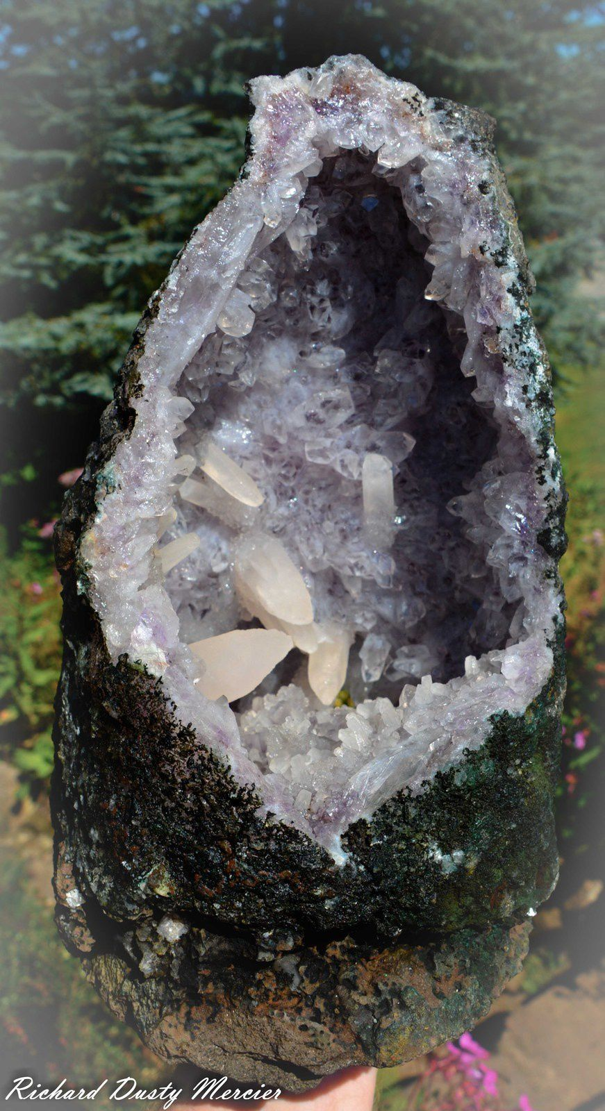 Calcite on Amethyst Geode from Brasil