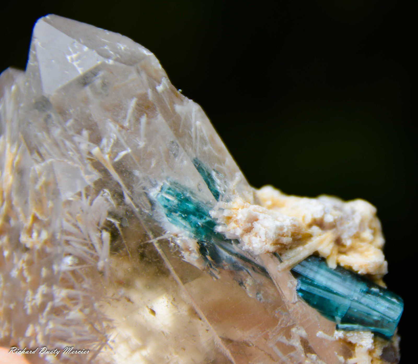 Blue Tourmaline Indicolite on Quartz from Brasil