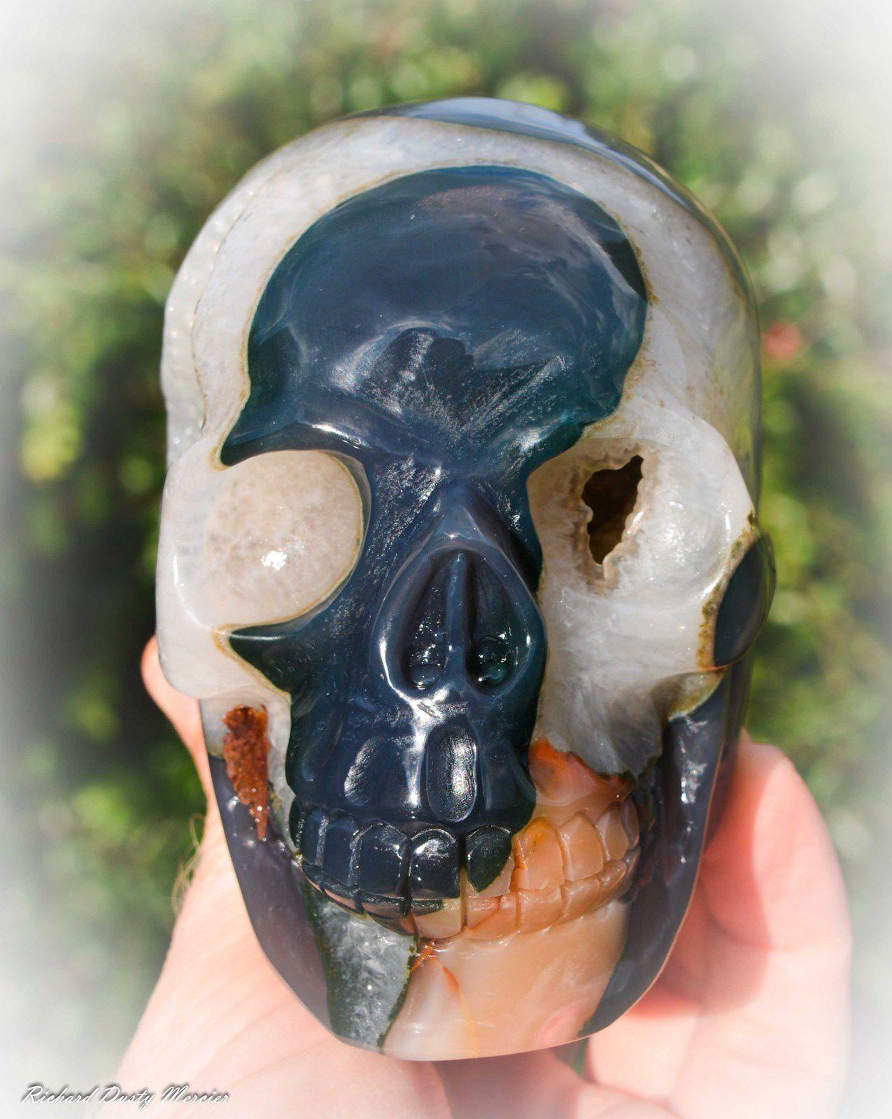 Geode Amethyst Agate Calcite Skull Carving