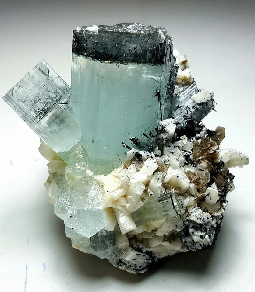 Aquamarine (Aigue Marine) with Shorl Tourmaline from Pakistan (private collection)