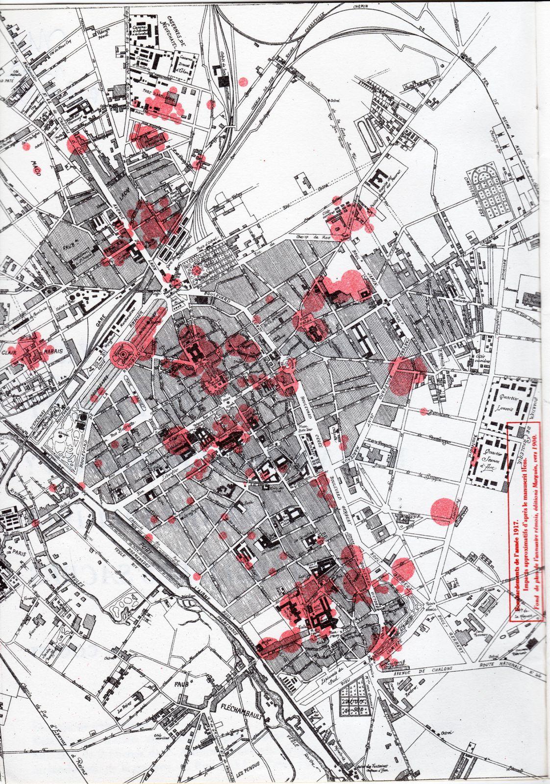 Bombardements de l'année 1917, impacts approximatifs d'après le manuscrit Hess. Fond de l'Annuaire rémois, éditions Marguin, vers 1900