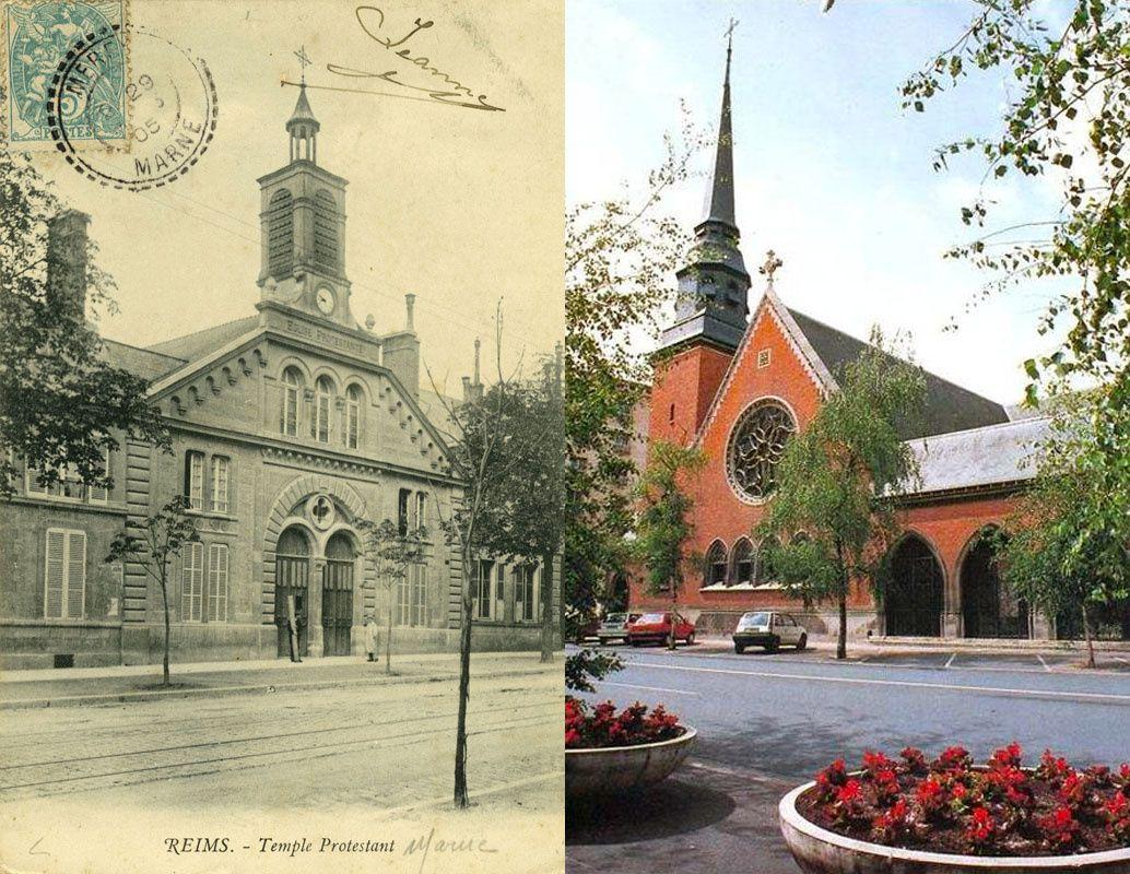 Le Temple Protestant, avant 1914... et le Temple reconstruit en 1921.