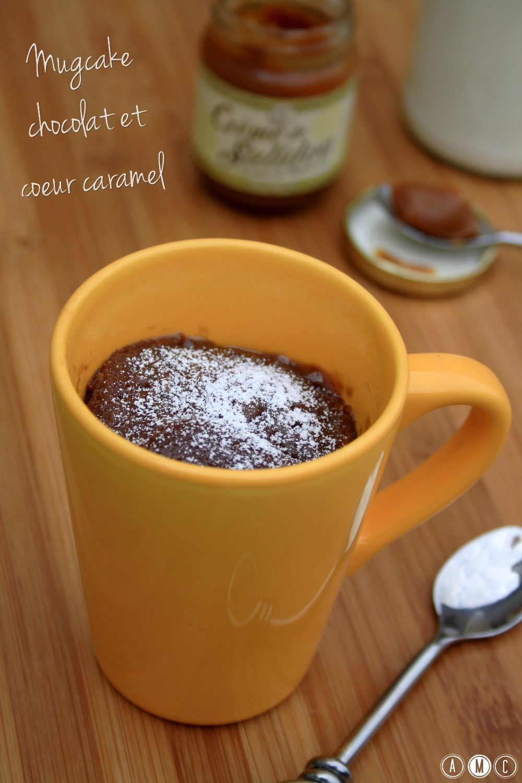 Mugcake au chocolat et coeur coulant au caramel beurre salé