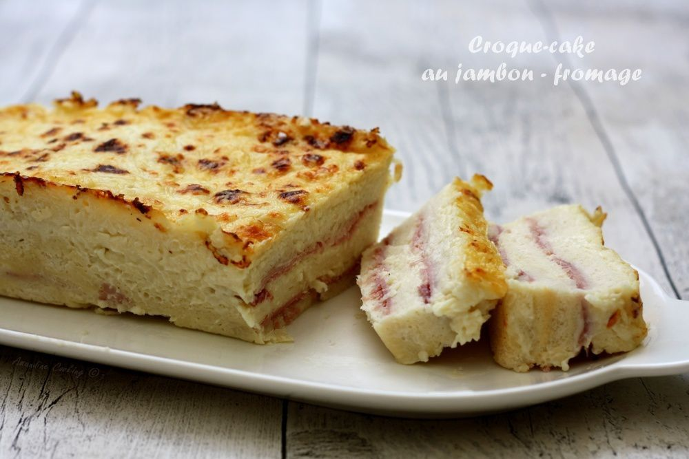 croque cake au jambon et fromage amandine cooking. Black Bedroom Furniture Sets. Home Design Ideas