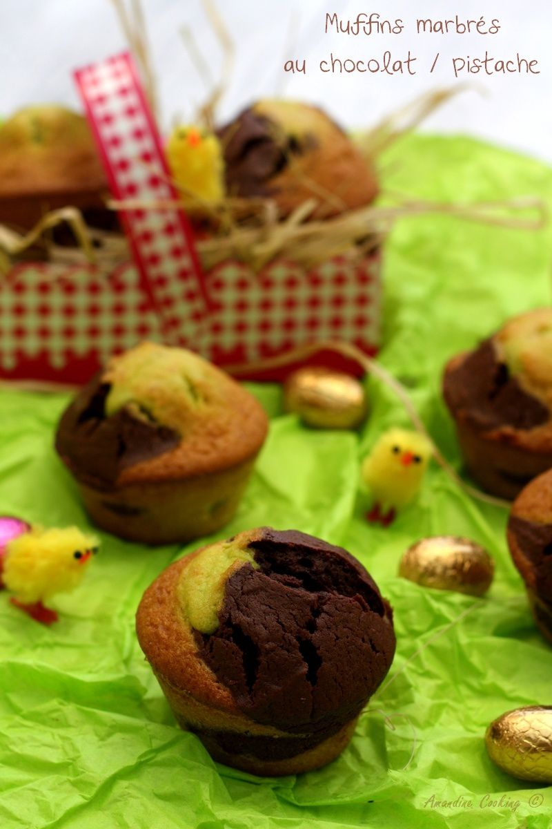 Muffins marbrés au chocolat et pistache